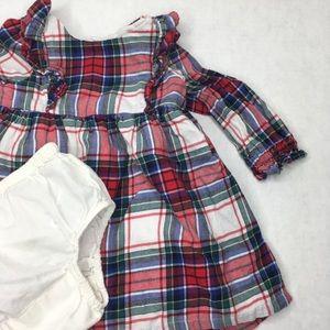 BabyGap Plaid Flannel LS Dress w/ Bloomers 6-12M